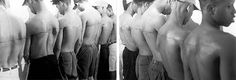 '250cm line tattooed on six paid people'. Santiago Sierra
