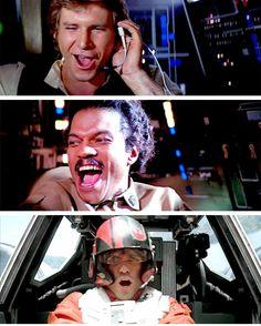 Han, Lando, and Poe