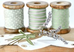 Jane Means ribbons, via Flickr. I like that they are on wooden spools.