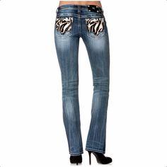 MISS ME JEANS SALE Buckle Low Rise Zebra Cowhide Bootcut Stretch Jean 30 X 34 #MissMe #BootCut