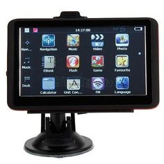 cool 5 TF 4GB Car GPS Navigation Touch Screen USA+Canada+Mexico Map Red Edge - For Sale