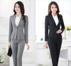Aliexpress.com  Comprar Trajes pantalón formales para mujeres trajes de  negocios para conjuntos de ropa de trabajo chaqueta gris para mujer oficina  estilos ... c79e652fd85e