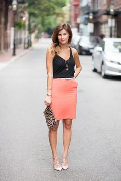 Summer Work Outfit Ideas: A Peach Pencil Skirt With a Black Tank
