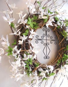 Easter Wreath with cross and white wildflowers by AllisonStrider, $30.00