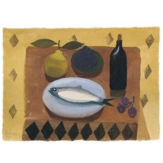 Still life with fish and pear. Signed and dated Fedden Gouache. x 9 ins. Naive, Art Grants, Still Life Artists, Gouache Painting, Abstract Flowers, Best Artist, Be Still, Mary, Watercolor