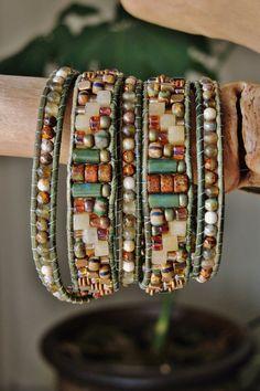 Rustic Old World CZECH & Labradorite 5 Wrap Leather Bracelet w/Jades, Rainforest Jasper, Red Adventurine Brass Beads/Button,and so much more