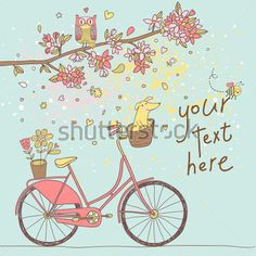 cute-vintage-bicycle-with-dog-under-floral-tree-with-owl-freedom-concept-in-retro-style-bright-cartoon-card_136338638.jpg (380×380)