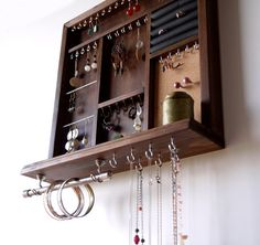 Jewelry display. earrings display. necklace holder. walnut stain display with shelf. wooden wall mounted jewelry storage. earrings holder.