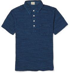 Faherty Indigo-Dyed Washed-Cotton Polo Shirt | MR PORTER