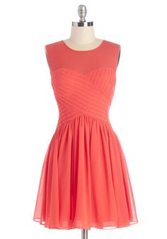 Flair Game Dress in Coral. Youre looking positively pretty in this red-orange dress, and its no surprise that your fashion-loving pals all agree! #gold #prom #modcloth