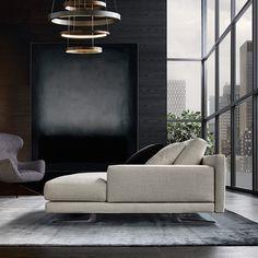 Mondrian sofa, details of the glossy brown nickel metal feet.,