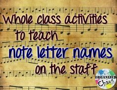 Organized Chaos: Teacher Tuesday: teaching letter names of notes on the staff (part Ideas to teach note letter names on treble or bass clef with the full class. King of the Mountain/ Around the World, Floor Staff Races, Swat the Note, Videos, Xylophon Teaching Letters, Piano Teaching, Learning Piano, Teaching Orchestra, Music Notes Letters, Middle School Music, Music Lesson Plans, Reading Music, Music Activities