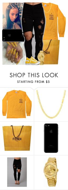 """""""yellow contest"""" by danny-baby ❤ liked on Polyvore featuring Fendi, Rolex and Converse"""