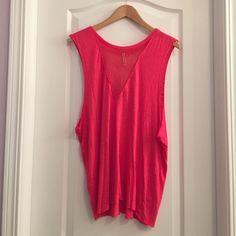 LF Emma & Sam Mesh Deep V Tank lF Stores Emma and Sam popular deep v mesh muscle tank in the color Poppy. Super soft, gorgeous color! A must have in every girls closet! Brand new with tags, no flaws. Will trade for other LF ONLY. Would love to trade for this tank in another color. Size XS but will work for most sizes due to oversized fit. LF Tops Tank Tops