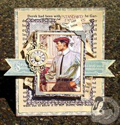 Great ideas for a manly heritage scrapbook layout. This is a beautiful 10-Minute card by @Tara Orr featuring A Ladies' Diary and she distressed the paper to make a beautiful textured look.