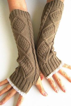 Pair of Chic Rhombus and Lace Edge Embellished Knitted Fingerless Gloves For WomenGloves | RoseGal.com