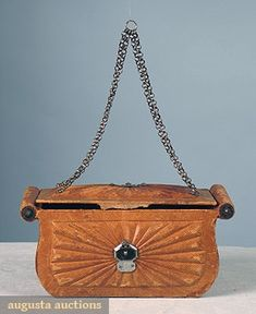 Leather reticule, 1790-1810, Augusta Auctions