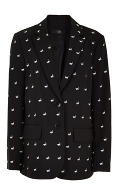 This tailored blazer with a relaxed, menswear-style fit is versatile for day to night styling and features evenly placed embroidered bulls. Wear with the coordinating pants. Button closure at front right. Fully lined.    53% Polyester, 43% Virgin Wool, 4% Elastane. Professional Dry Clean Only.  Style Number: TP216TRW83945  Available in: Black