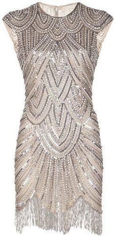 Ornate silver sequin cocktail dress. Flapper style