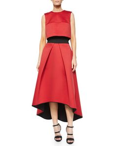 Jewel-Neck Cropped Shell & High-Low Tucked Ball Skirt at CUSP.