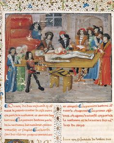 Ms H 184 fol.14v. Dissection lesson at the Faculty of Medicine in Montpellier. In Guy de Chauliac (http://www.pinterest.com/pin/287386019945435093/): La Grande Chirurgie, 1363. Boncolási gyakorlat a Montpellier-i orvosi fakultáson.