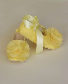 Yellow Satin Baby & Toddler Shoe - 14 colors - Couture Ballet Slipper - Flower Girl Ballet Flat - Satin and Tulle - Baby Souls Baby Shoes