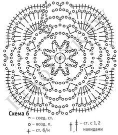 схема узора для вязания крючком пуловера из квадратных мотивов