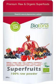 Superfruits 100% Raw Powder.Biotona Superfruits 100% Raw Powder ist ein hervorragendes Pulver aus den besten Beeren der Welt. Superfruits 100 % Raw Powder besteht aus :- Roten und Schwarzen Johannisbeeren, Erdbeeren, Holunderbeeren, Maqui, Acerola, Brombeeren,   Cranberry, Camu Camu, Gemeinen Bocksdorn, Acai-Beeren, Granatapfel, Heidelbeeren,   Apfelbeeren und Himbeeren.