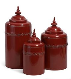 Red Metal Canisters Set Of Three Imax Jars, Urns & Pots Decorative Accessories Home Deco Red Canisters, Kitchen Canisters, Canister Sets, Storage Canisters, Provence, Tuscan Decorating, Decorating Ideas, Decor Ideas, Mediterranean Home Decor