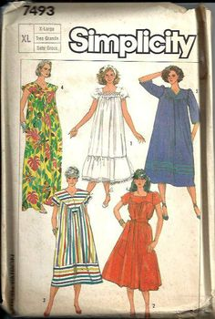 Misses Dress Muu Muu Loose Simplicity 7493 Pattern Vintage 1986 Size Large Long Summer Dresses, Simple Dresses, Muumuu, Miss Dress, House Dress, Simplicity Patterns, Sewing Clothes, Clothes Patterns, Dress Patterns