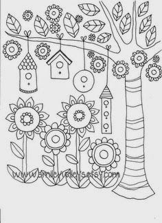 Line Drawing, Flower Colouring Pages, Adult Coloring Pages, Printable Colouring Pages, Coloring Sheets, Coloring Books, Garden Coloring Pages, Mandala Coloring, Drawing Templates