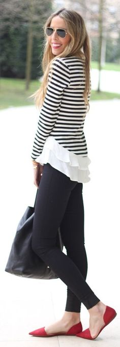 Abaday Striped Contrast Hem Sweater by Martinas
