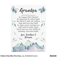 Shop Father's Day Miss You Grandpa from Grandkids Fleece Blanket created by JenReillyCreative. Grandpa Birthday Gifts, 30th Birthday Gifts, Grandpa Gifts, Birthday Crafts, Mom Birthday, Fathers Day Poems, Fathers Day Crafts, Gifts For Father, Kid Crafts