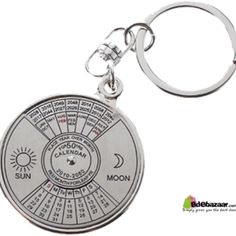 50 Years Calender Key Ring A Grade Quality With a shining mirror on the back A small pushing handle on the key for turning Material: Zinc alloy Color: Silver Ring diameter: Approx. L-3.26 inch/3.2cm.