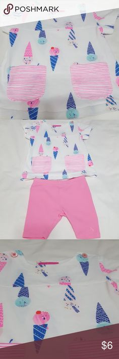 Adorable set of play clothes with ice cream cones This little set of play clothes is adorable and super soft. It has no stains, rips or tears and has always been washed in draft. ECU Joules Matching Sets