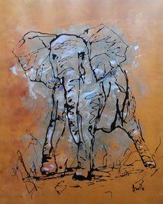 Tableau moderne jeune éléphant solitaire par peintures-axelle-bosler : Peintures par peintures-axelle-bosler
