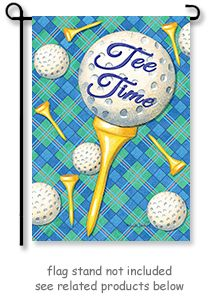 Golf Tee Time Garden Flag by artist Paula Jeering for Custom Decor.   @justforfunflags