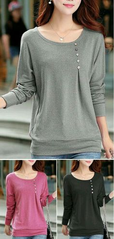 Round Neck Grey Long Sleeve T Shirt with buttons placed more over to her left side. The balance has shifted in the shirt Trend Fashion, Look Fashion, Autumn Fashion, Fashion Outfits, Sewing Clothes, Diy Clothes, Clothes For Women, Pretty Outfits, Cool Outfits