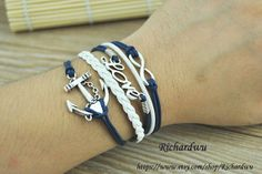 Anchor & Infinity Wish and Love bracelet  Navy blue by Richardwu, $5.99