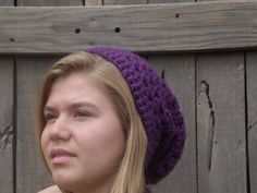 Hand Crocheted Slouchy Hat In Dark Purple  Brown by WillowPrairie, $20.00This listing includes three hats. They are sold separately.  This fun slouchy hat is a perfect winter accessory! It has plenty of stretch and is perfect for everyday wear. This is one of my favorite hats especially when you have a bad hair day you can just put all your hair into the hat and you are good to go! If you have a problem with slouchy hats sliding off your head use bobby pins and pin it to your head:)