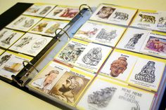 History Timeline using baseball card sleeves