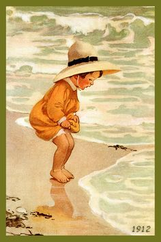 Quilt Block of 1912 painting of Young Girl at Seaside by Jessie Willcox Smith printed on cotton. Ready to sew.  Single 4x6 block $4.95. Set of 4 blocks with pattern $17.95.