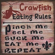 Crawfish Eating Rules Cajun Rustic Primitive Country Distressed Wood Sign Home Decor by SouthernHomeSigns on Etsy