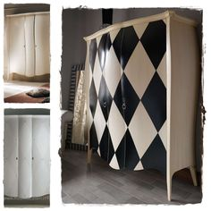 Wardrobe - checkered painted furniture piece