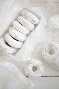 Powdered Lemon Bourbon Oat Cake Doughnuts at Chasing Delicious