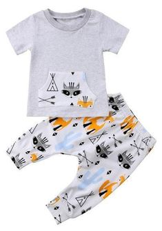Tribal Fox and Raccoon Baby Boy Set