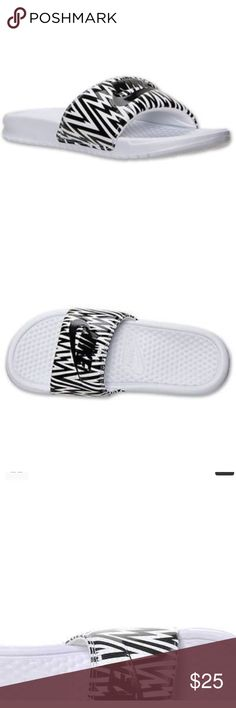 Benassi JDI Slides This fresh logo update to the classic Benassi Slide is just what you need.  One-piece synthetic upper with a jersey lining for durability and comfort. Iinjected Phylon™ midsole and outsole for cushioning. Herringbone pattern Nike Shoes Sandals