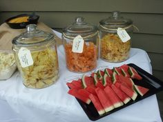 Chips in Large Glass Canisters makes bold presentation or put other food and place lid to keep bugs out when outdoors!