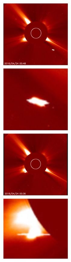 Massive UFO sightings around the Sun from the NASA SOHO telescopes 4/24/2016.