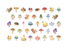 These would be adorable tiny tattoos Tiny Mushroom, Mushroom Tattoos, Cool Tats, Watercolor Animals, Kids Prints, Trendy Tattoos, Cute Art, Pencil Drawings, Tatting